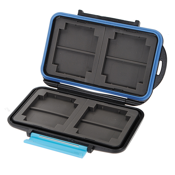 JJC MC-2 Anti-shock Waterproof Memory Card Case Hard Storage 4 CF 8 SD - Eachine - EachineMemory Cards<br>Description: Brand new in its original package High quality &amp; mass storage Anti-shock, hard case, extremely tough Water proof, With rubber sealed Easy to carry, perfect protection Specification: Material: ABS &amp; Rubber Capacity: 4 CF Cards or 8 SD Cards Size: 11.5 x 8 x 1.5cm Weight: 150g Package included: 1 x Memory Card Case (MC-2)<br>