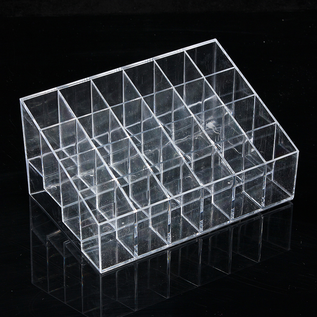 24 Quadrates Acrylic Clear Cosmetic Container Makeup Storage Organizer acrylic makeup cotton pad cosmetic organizer case storage box