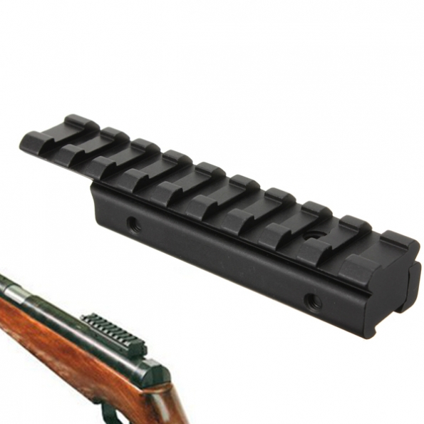 11mm to 20mm Rifle Tactical Dovetail Rail Extension Weaver Adapter - EachineHunting<br>Features:Fits dovetail 11mm rail.Dovetail rail extension.Can be used to convert 11mm to 20mm.Specification:Top Rail Full Length:100mmDove rail length:75mmWeight:65gGross Weight:90gHeight:13mmTop Picatinny rail width: 20mmBottom dovetail rail width: 11mmMaterial: aluminum alloyColor: BlackPackage Included:1 x Dovetail Rail Extension 11mm to 20mm Weaver Adapter(DO NOT included Allen Key,Long screw,Stop pin screw )<br>