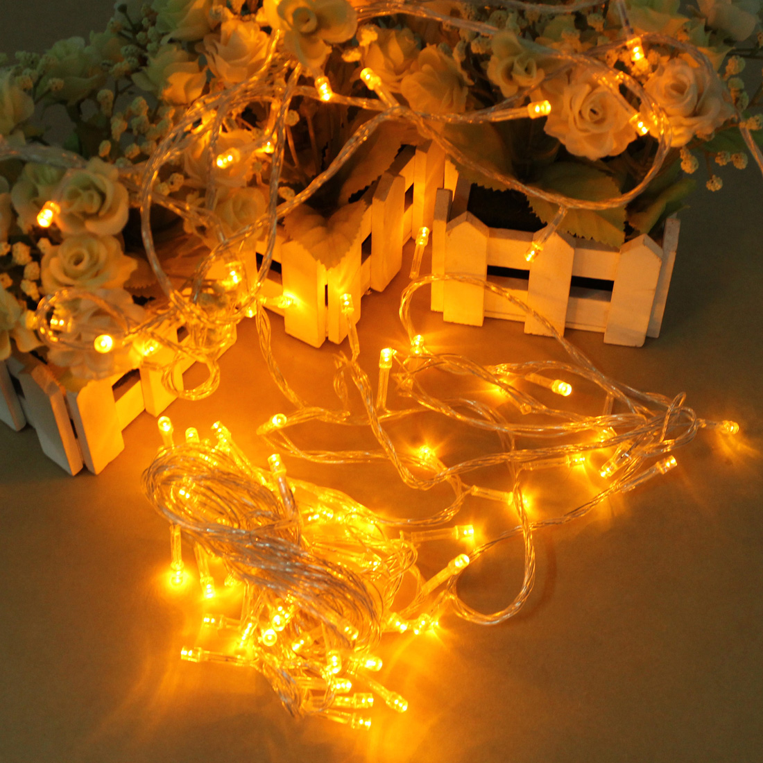 Holiday String Lights Wig : Other Outdoor Lighting - 100 LED 10m Yellow String Decoration Light For Christmas 110V 220V was ...