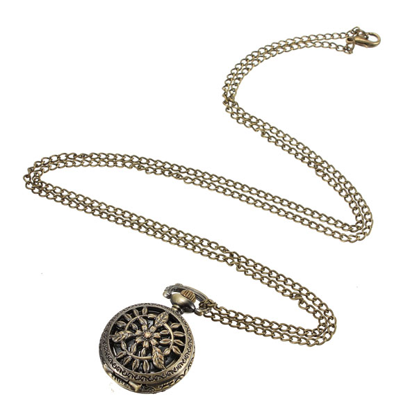 Vintage Style Bronze Hollow Flower Leaves Quartz Pocket Watch