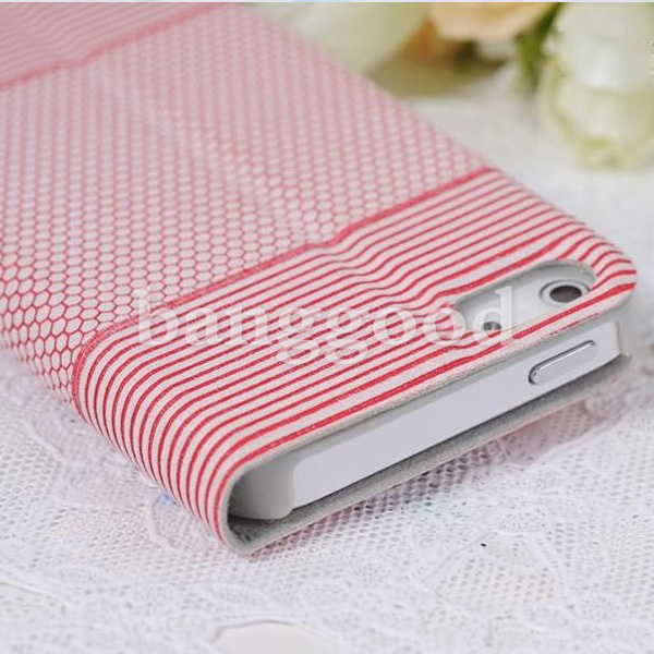 Football Grain Pattern Slim Stripe Flip Leather Case For iPhone 5 5S