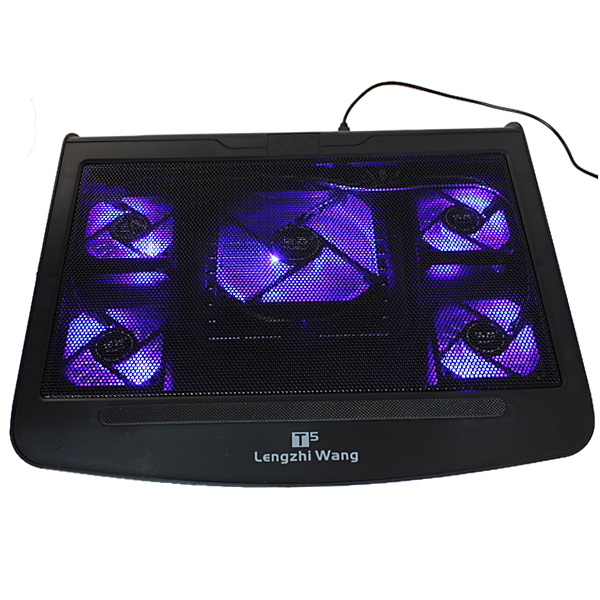 5 Fan Blue LED 10-17 Inch Laptop Cooling Stand Pad + USB Port