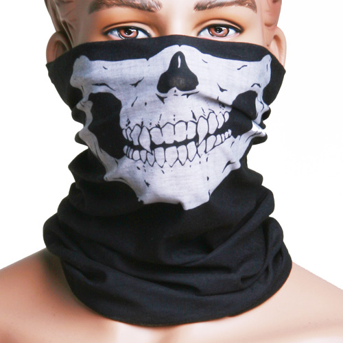 Skull Multi Purpose Head Wear Hat Scarf Face Mask Cap grommet lace up side tee