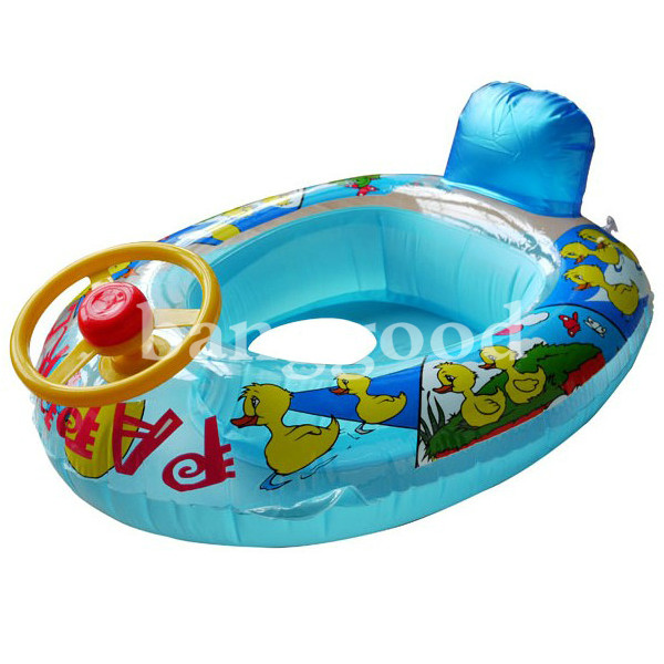 wheel horn kids swim ring seat float baby boat inflatable swimming trainer pool us. Black Bedroom Furniture Sets. Home Design Ideas