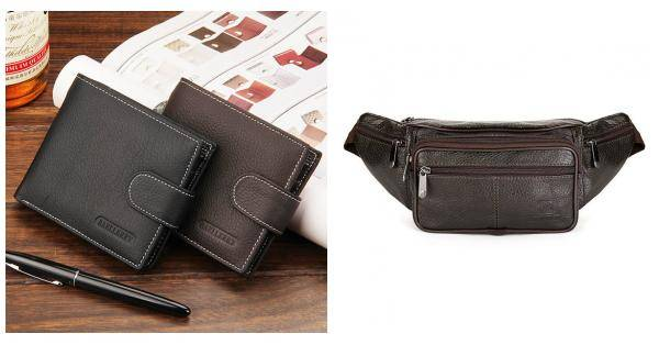 Men Business Genuine Leather Black Coffee Retro zipper Wallet Money Bag
