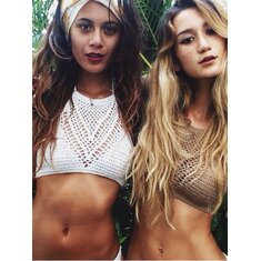 Crochet Bikini Top For Women Bralette Knit Bra Boho Beach Bikini Halter