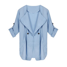 Women Casual Plus Size Long Sleeve Pocket Windbreaker Cardigan