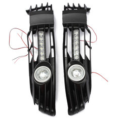 Front Lower Bumper Fog Light Grille With LED DRL For 00-05 VW Passat