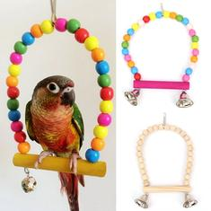 Wooden Bird Stand Holder Parrot Swing Bird Parrot Toys Wooden Stands With Bells