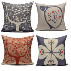 Blue Red Tree Printed Cotton Linen Home Office Pillow Case