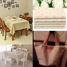 DIY Daisy Printed Linen Patchwork Cotton Table Cloth Handmade Zakka