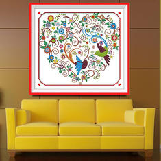 51x46cm Colorful Phoenix Heart Cross Stitch Kit Embroidery Home Room Decor
