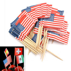 50Pcs Birthday Party American USA Flag Cupcake Topper
