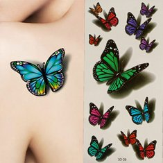 3D Butterfly Flying Design Temporary Tattoo