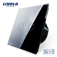 Livolo Black Glass Touch Panel Intermediate & Remote EU Switch VL-C702SR-12