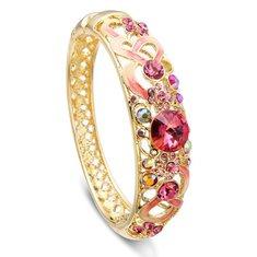 Cloisonné 18K Gold Plated Crystal Enamel National Wind Bangle Bracelet