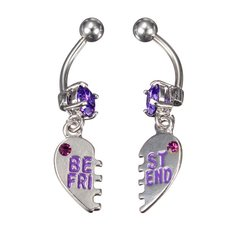2pcs Crystal Best Friend Navel Belly Button Rings Piercing Jewelry