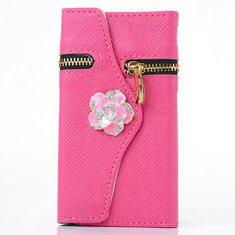 Zipper Flower PU Leather Protective Case