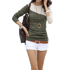 Casual Slim Color Block Patchwork Long Sleeve Round Neck Women Bottom T-Shirt