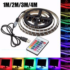 USB 5V 5050 60SMD/M RGB LED Strip Light TV Back Lighting Kit +24Key Remote