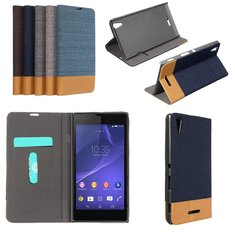 Flip Jeans Leather Stand Case Cover For Sony Xperia T3