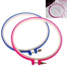 2pcs Plastic Blue Pink Cross Stitch Embroidery Hoop Ring Sewing Tool