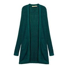 Pocket Casual Loose Green Knit Long Sleeve Women Long Cardigan