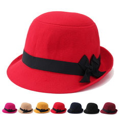 Women Wool Imtiation Fedora Trilby Cloche Cap Bow Felt Wide Brim Bowler Bucket Hat