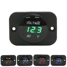 12V-24V Waterproof LED Voltmeter Voltage Meter Gauge For Car Motorcycle Boat Marine