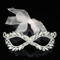 European White Ribbon Rhinestone Lady Women Masquerade Mask