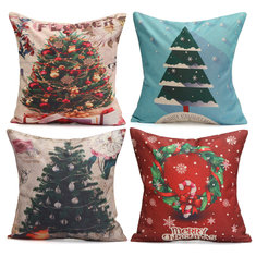 43X43cm Christmas Tree Snowmen Gift Fashion Cotton Linen Pillow Case Santa Claus Home Decor