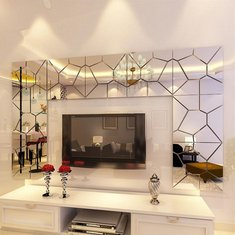 18cm 7Pcs DIY Acrylic Modern Mirror Decal Art Mural Wall Sticker Home Decor Removable Stickers