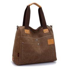 Women Contrast Color Multi Pocket Canvas Bags Casual Shoulder Bags Large Capcity Crossbody Bags