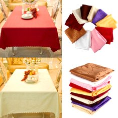 140cm Polyester Absorbent Square Tablecloth For Hotel Restaurant Wedding Decor