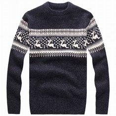 Mens Thick Rein Deer Pullover Sweater Round Collar Knitwear 4 Colors