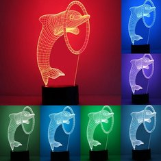 3D Optical Dolphin Night Light 7 Color Changing LED Desk Table Lamp DC5V