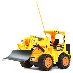 RC Bulldozer Remote Control Construction Toy Car 5 Channels With Light Sound Kids Toy Gift
