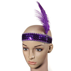 Feather Headband Flapper Sequin Costume Fancy Dress Hair Band