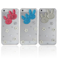 Rabbit Bunny Bling Crystal Diamond Plastic Case Cover For iPhone 5
