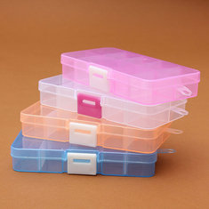 Multicolor 10 Slots Compartment Rectangle Display Jewelry Storage Box