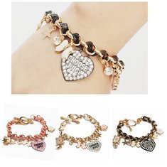 Crystal Love Heart Poker Butterfly Leather Rope Bracelet For Women