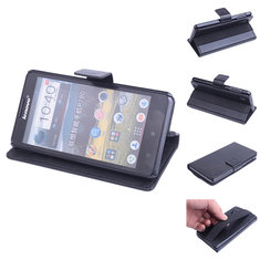 Flip Magnetic Stand Leather Case For Lenovo P780 Black