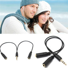 Black 3.5mm Earphone Headphone Audio Splitting Cable Lead Cord Jack Y Splitter