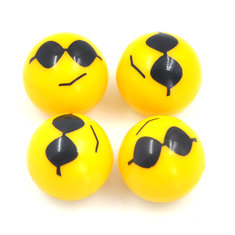 Universal Gas Nozzle Cover with PSY Complacent Smiling Face Tire Stem Valve Cap Four Pack