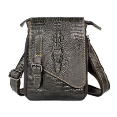 2015 First Layer Genuine Leather Men's Messenger Crossbody Bag Crocodile Travel Handbag