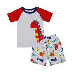 2015 New Lovely Dinosaur Baby Children Boy Pure Cotton Shorts Sleeve T-shirt Pant Suit