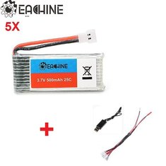 5X Eachine 3.7V 500mah Lipo Battery with 1 to 5 USB Charging cable