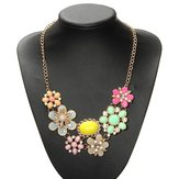 Bohemia Gold Plated Colorful Crystal Flower Statement Necklace