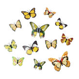 12Pcs 3D Stickers Yellow Butterfly Wall Decals Home Wedding Party Decoration